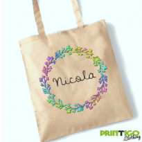 Floral Wreath Colour, Tote Bag
